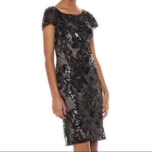 Calvin Klein black/nude sequin cap sleeve dress 12